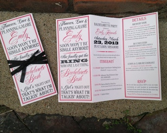 Bachelorette Party Invite - Trifolded, Itinerary