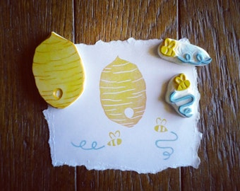 Bee Hive and Buzzy Bees Stamp Set Hand Carved