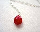 Sookie Necklace - ruby necklace, ruby gemstone necklace, scarlet ruby solitaire necklace, true blood, july birthstone, handmade jewelry