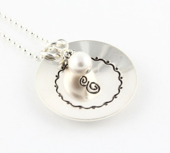 Christmas Gift - Family Initial - Sterling Silver Personalized Necklace - Hand Stamped Custom Necklace with a Pearl