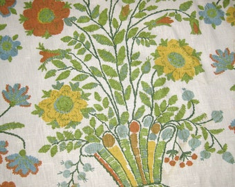 """Vintage Linen Upholstery Fabric by Greeff fabric - """"Lucretia Hall Coverlet""""  - Shabby Chic Floral Print"""