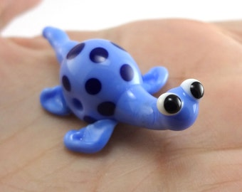 Blue Loch Ness Monster Lampworked Glass Figurine Bead