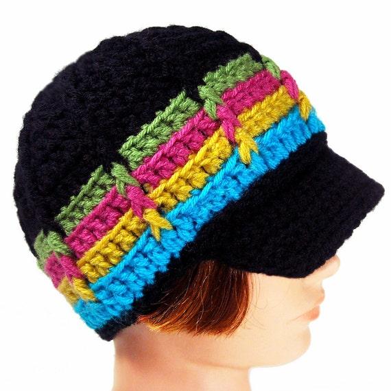 Brimmed Newsboy Style Beanie, Crochet Cap with Visor, Neon Night