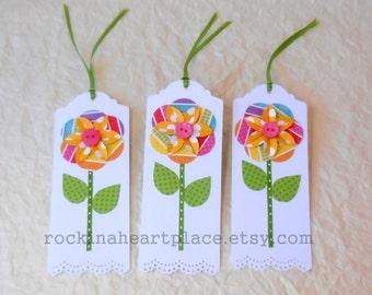 Folded Flower Gift Tags - set of three - rainbow colors