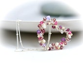Pearls and Crystal Wrapped Petite Heart Sterling Silver Necklace in Dusty Pink Wire Wrapped in Shiny Silver - Mayahelena