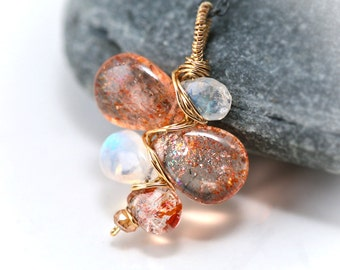 Sunstone and Moonstone Branch Wire Wrapped Mixed Metal Necklace