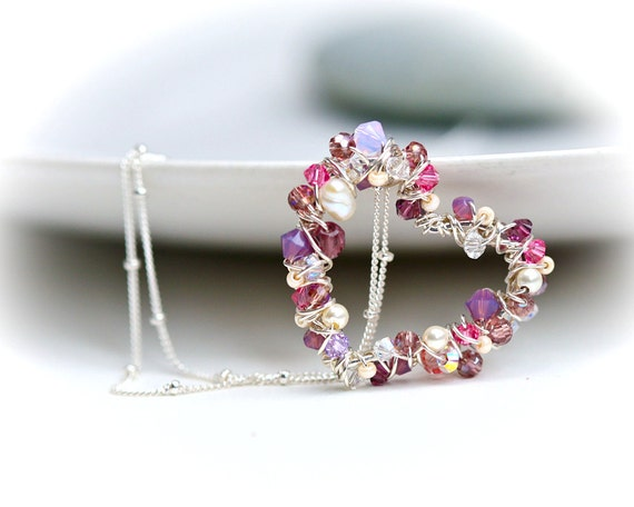 Pearls and Crystal Wrapped Petite Heart Sterling Silver Necklace in Dusty Pink Wire Wrapped in Shiny Silver