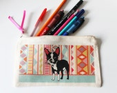 Boston Terrier Pencil Case Aztec Pattern
