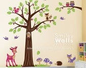 Nursery Wall Decal, Woodland Wall Decal Forest Animals Wall Decal Bambi Deer Owls Squirrels Raccoon Baby Kids Room Art Decor