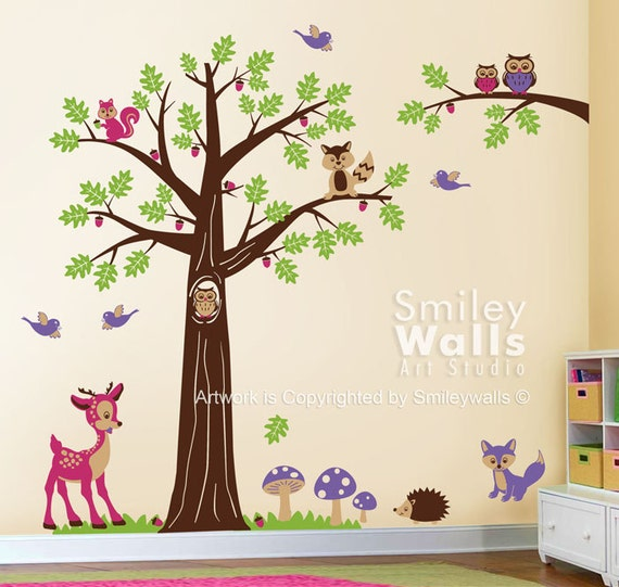Nursery Wall Decal Woodland Wall Decal Forest Animals Wall - Bambi love tree wall decals