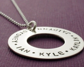 Eternity Necklace - Sterling Silver Washer Style Pendant w/ Children's Names - Family Eternity Charm by EWD for Mom