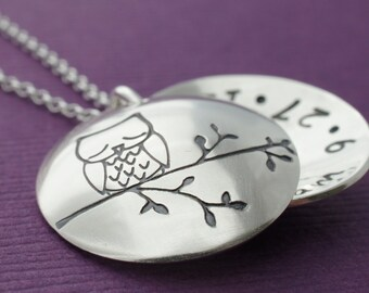 Owl Locket in Sterling Silver - Baby Owl Locket - Mother's Locket with Baby Name and Birth Date Hidden Inside