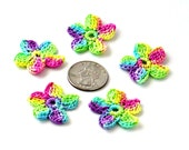 Crochet Applique Mini Flower Motif Flower Embellishment Crochet Flower Applique Neon Rainbow Crochet Motif Crochet Flower Motif