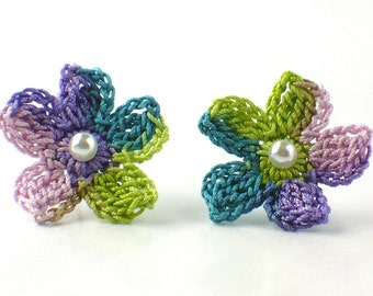 Flower Crochet Earrings Stud Earrings Hypoallergenic Spring Green Purple Pink Teal