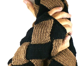 Knit Arm Warmers Knit Fingerless Gloves Knit Wrist Warmers Fingerless Mittens Knit Hand Warmers Black and Cafe Brown Gauntlets Knit Gloves