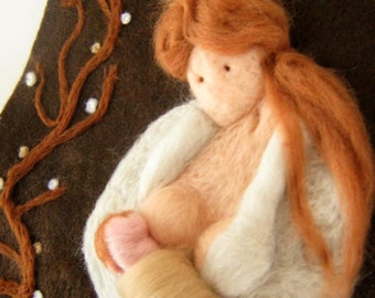 NeedleFelted Tapestry - Nursing Mother - Wool Needle Felted  Painting - Art -Made to order