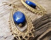 Chandelier earrings. Blue gold earrings. Drop earrings. Filigree. Blue Lapis. Moonrise