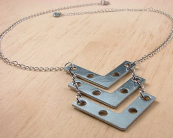 Chevron Statement Necklace Long Hardware Jewelry