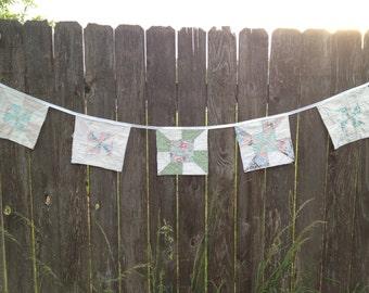 Quilt Block Wedding Banner, Vintage Quilt, Wedding Decoration, Photography Prop, Quilt Garland