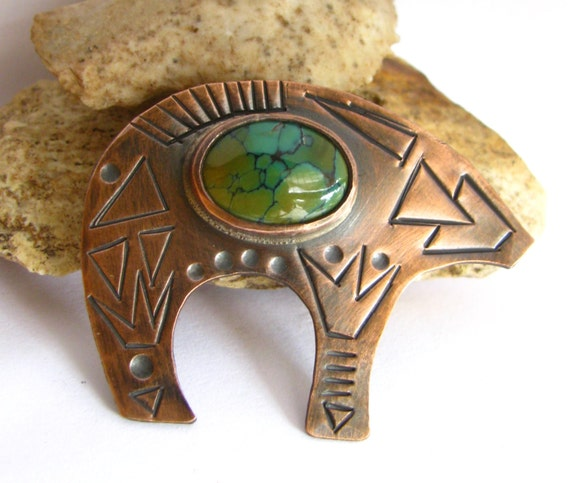 Turquoise And Copper Bear Brooch - Native American Zuni Inspired Modern Tribal Metalsmith Copper and Turquoise Jewelry Shawl Cloak Coat Pin