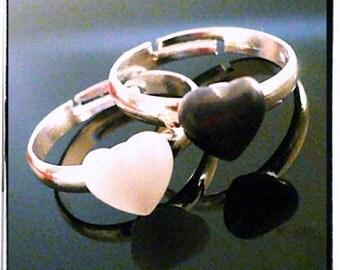 Yin Yang Beyond Duality Glass Heart Rings Stackable Ying Yang Rings
