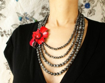 Statement necklace Red flower bib necklace, Beadwork, Vintage black red flower beaded necklace, multiple strands labradorite gemstones