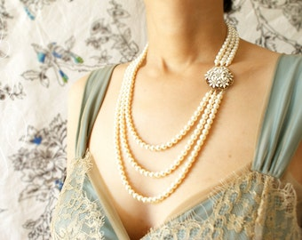 Bridal Statement necklace, wedding jewelry, vintage enameled white flower clustered triple strand bridal wedding necklace