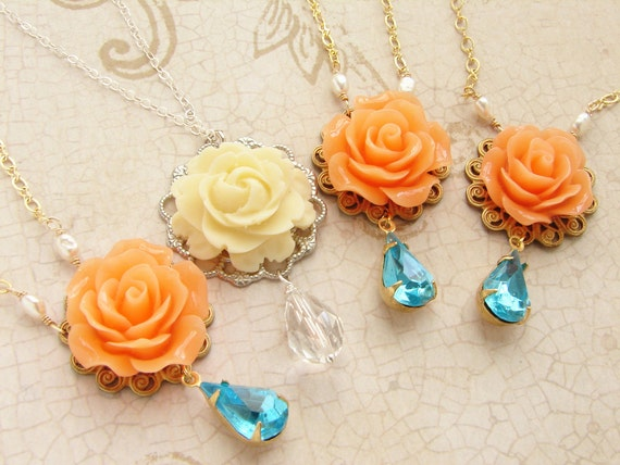 Bridesmaid jewelry, Bridal necklace, wedding jewelry, Peach rose aqua rhinestone, Ivory rose crystal drop bridal wedding party necklace