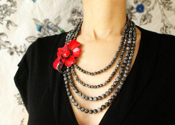 Statement necklace Red flower bib necklace, Beadwork, Vintage black red flower beaded necklace, multiple strands labradorite gemstones