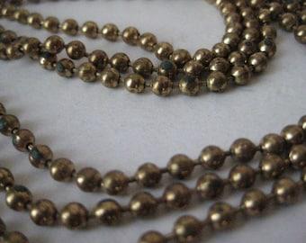 Shabby Gold Three Strand Necklace Vintage