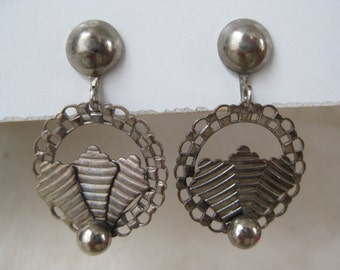 Silver Dangle Earrings Screw Vintage