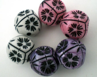 6pcs - 20mm Multicolor Ornate Floral acrylic beads