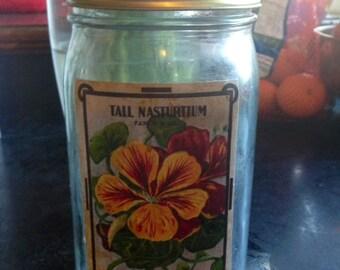 Vintage Mason jar with flower label