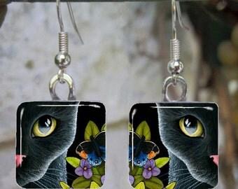 Black Cat 557 butterfly Art Glass Earrings Jewelry from painting by L.Dumas