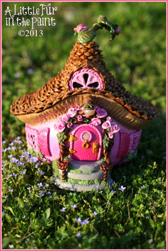 Pink Rose Fairy Cottage Ooak Gourd Polymer Clay