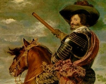 Vintage 1950's Frameable Art Print, The Count - Duke of Olivares on Horseback (Detail) by Velazquez