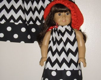 CHEVRON DOLL DRESS with bias tape on arms -add on with purchase charge for doll pillowcase  dress American Girl Doll