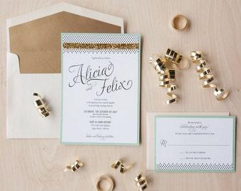 Modern Glam Wedding Invitation, gold glitter invitation, mint and gold invitation, celebrate invitation SAMPLE
