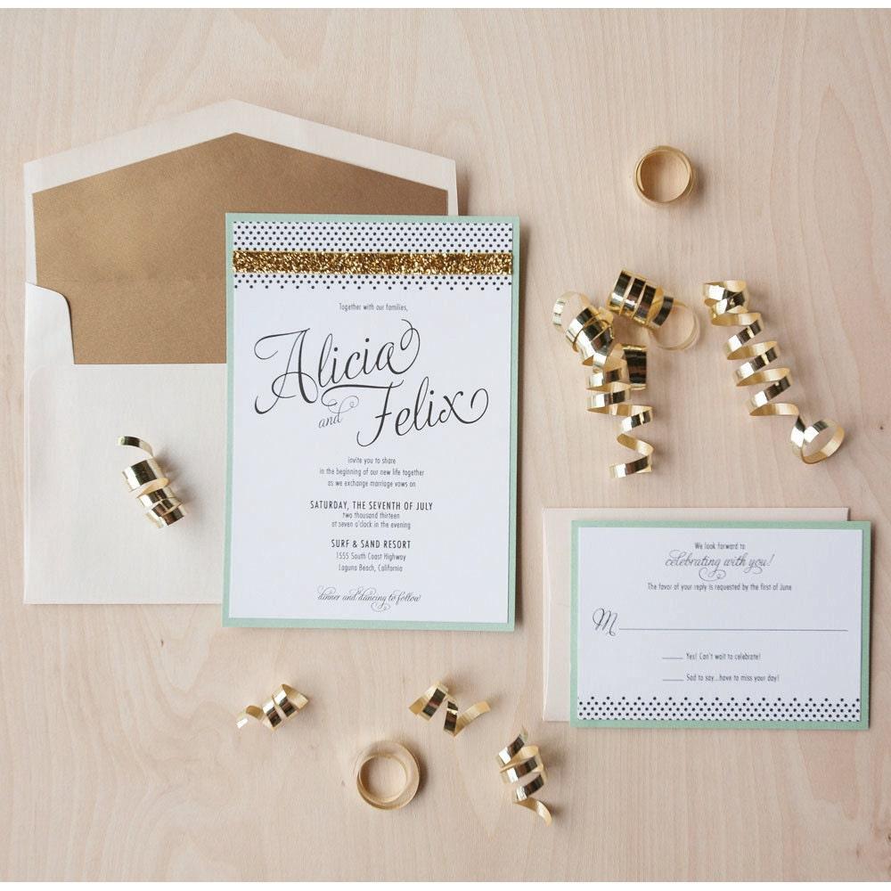 Modern Glam Wedding Invitation Gold Glitter Mint