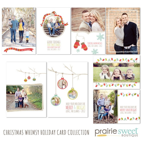 Christmas Whimsy Holiday Card Set - Photoshop Templates for Photographers - Set of 8 PSD Files - CS6002