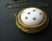 Celestial Locket, Gold Stars Pendant, Vintage Starry Sky Necklace, White, Gold, Brass, Gift Box