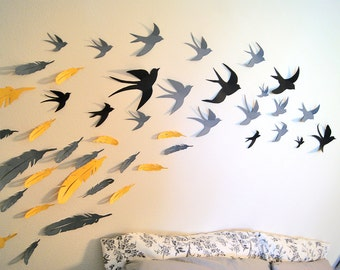 60 3D Bird/ and Feather mix Wall Art