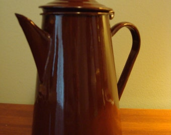 Beautiful vintage chocolate brown enamelware teapot with hinged lid- Poland