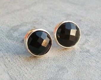Faceted stud earrings - Black onyx earrings - Black earrings - Onyx studs -  Bezel earrings post - Gift for her