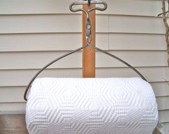 """PAPER TOWEL HOLDER-""""The Miami Ice Delivery Co."""" IcE TonGs REcycled-plus roll Bounty Basics Paper ToweLs-greaT SiLver paTina-No.19"""