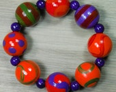 Hand-painted Wooden Bead Bracelet - Purple - Red - Olive - Tomato - Elasticated