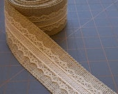 BACK IN STOCK!!  - Beige and Ivory Burlap with Lace Ribbon - 2 inch x 3 yards