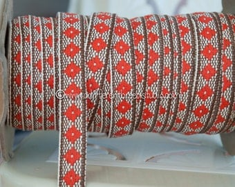3 yards of Mod Brown & Orange Vintage Trim -  60s 70s New Old Stock Woven Geometric