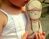 Tallulah - Native American Inbspired Linen doll plush toy, Nursery Decor
