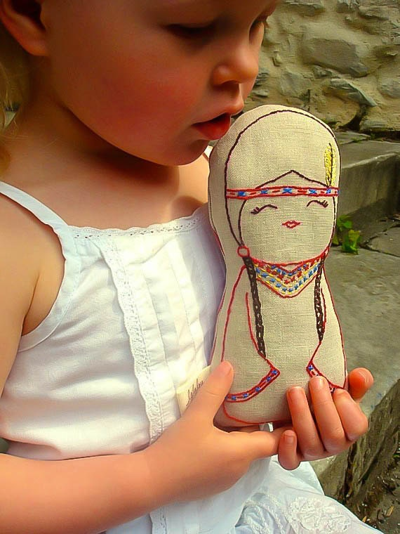 Tallulah - Native American Inbspired Linen doll plush toy, Nursery Decor, New baby gift, natural soft toy, Hand embroidered,Girl